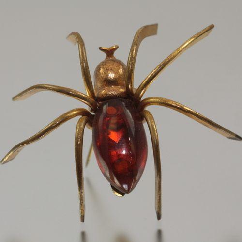 Art Deco Rootbeer Bakelite Spider Brooch
