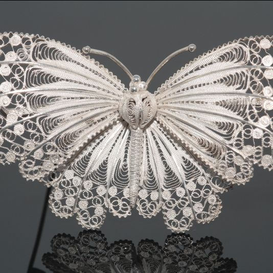 Lacy Silver Filigree Butterfly Brooch