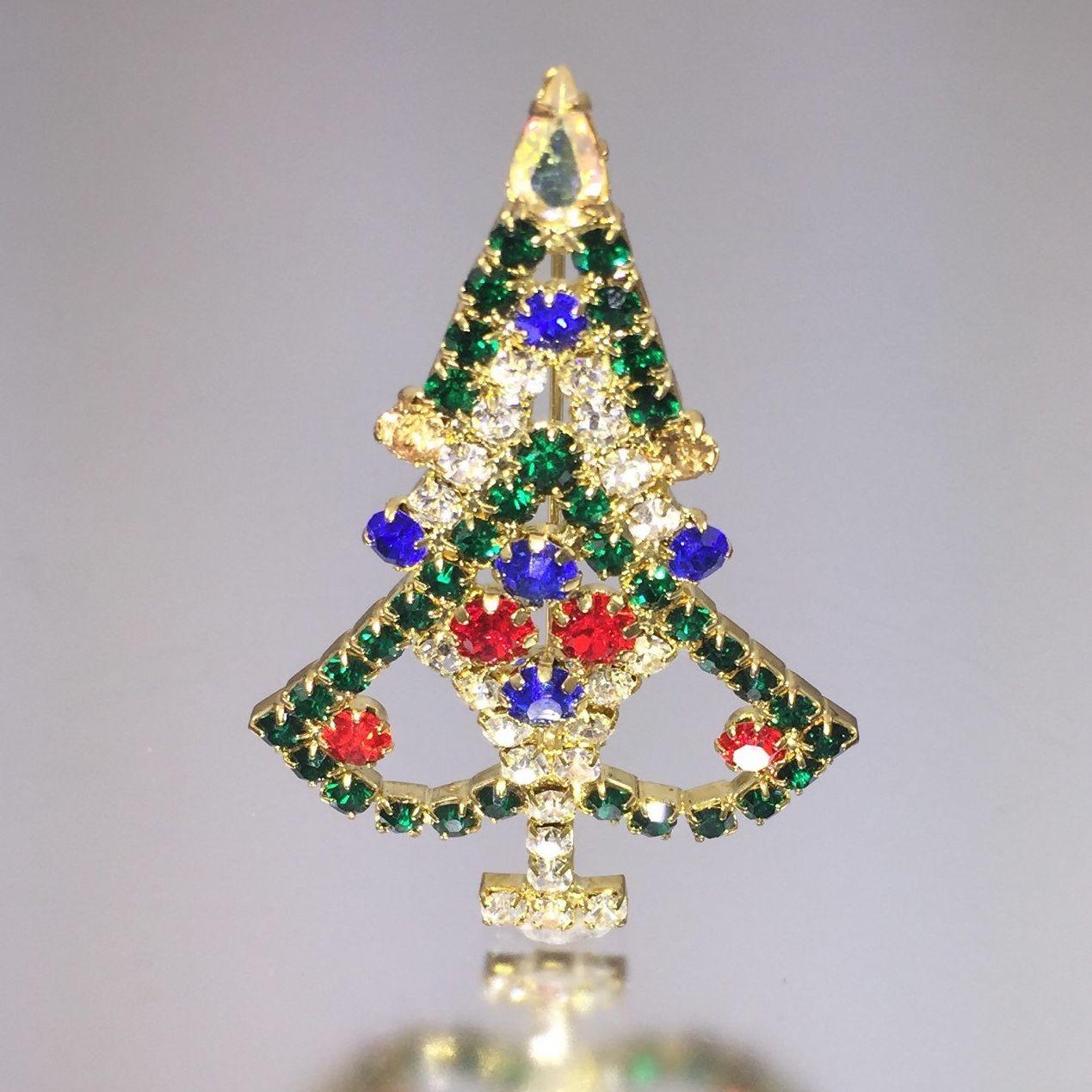 Rhinestone Christmas Tree Pin - Vintage Jeweled Xmas Tree Brooch
