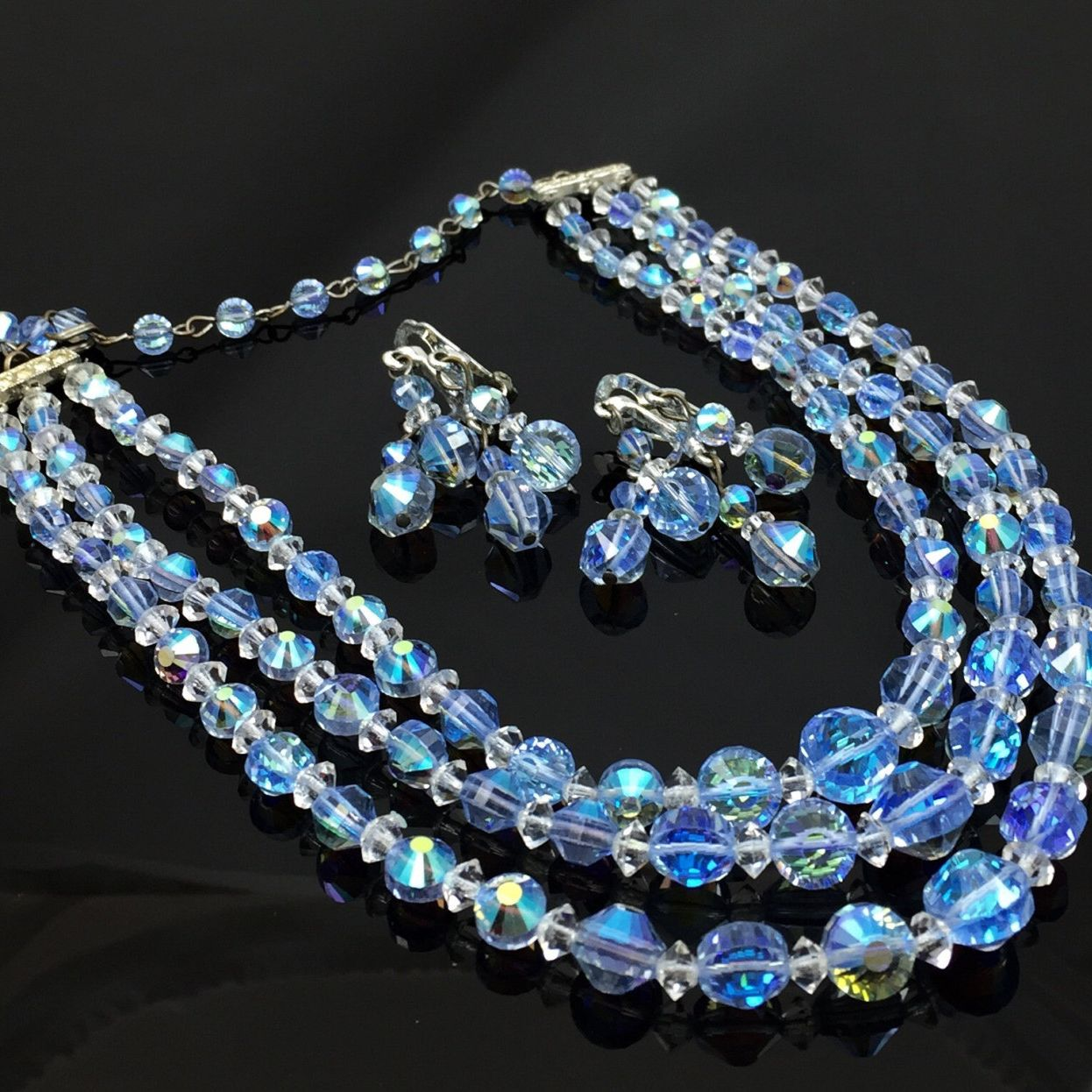 Triple Strand Blue Ab Crystal Bead Necklace Earrings Set