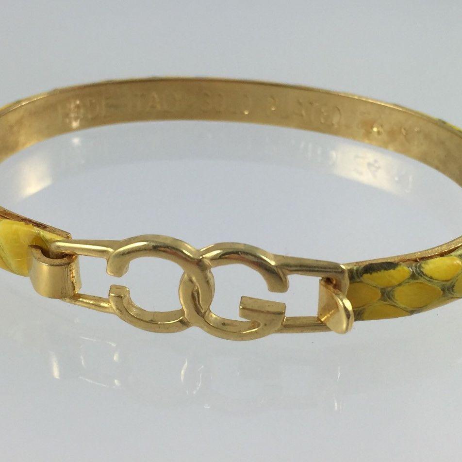 Vintage Casini Amp Gori Yellow Leather Bangle Bracelet