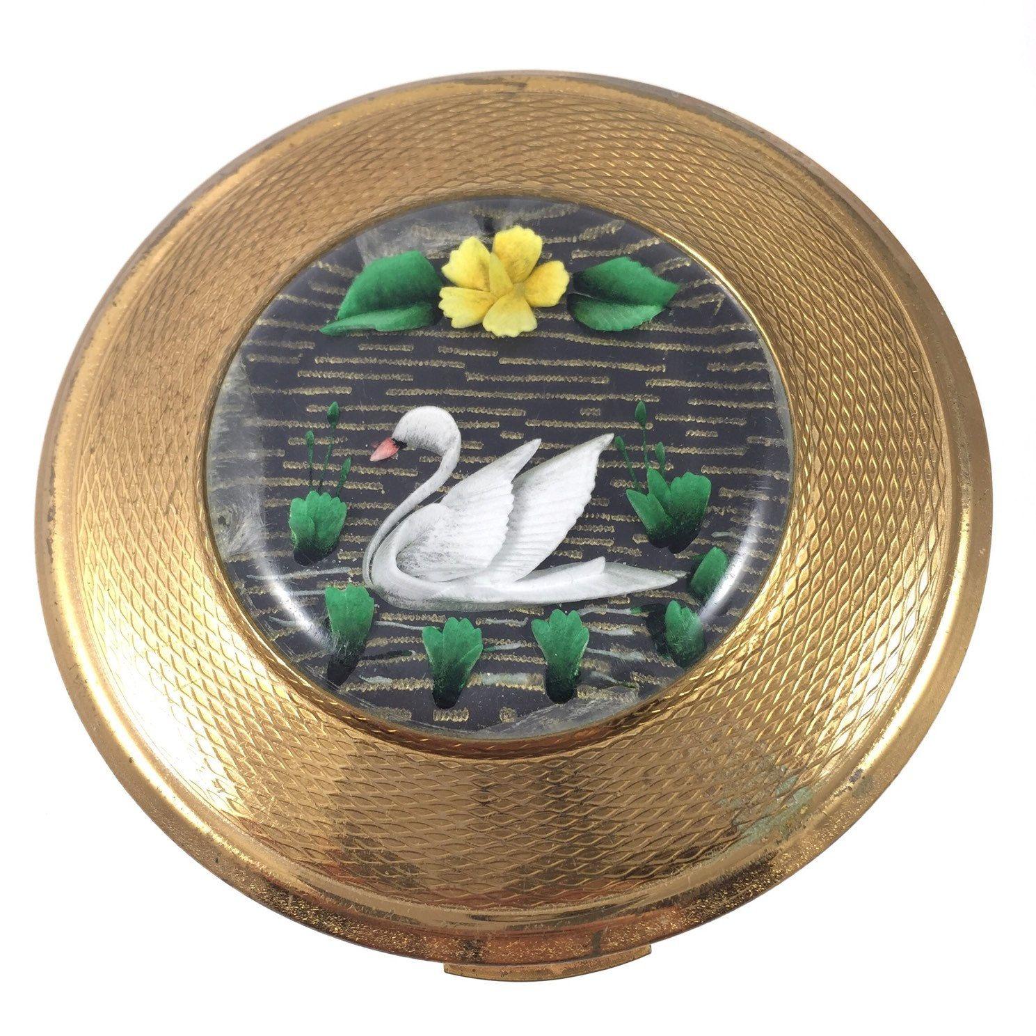 Vintage Kigu Of London Lucite Perspex Swan Powder Compact